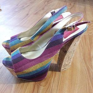 FRH Rainbow Platform Sandals Womens Size 9